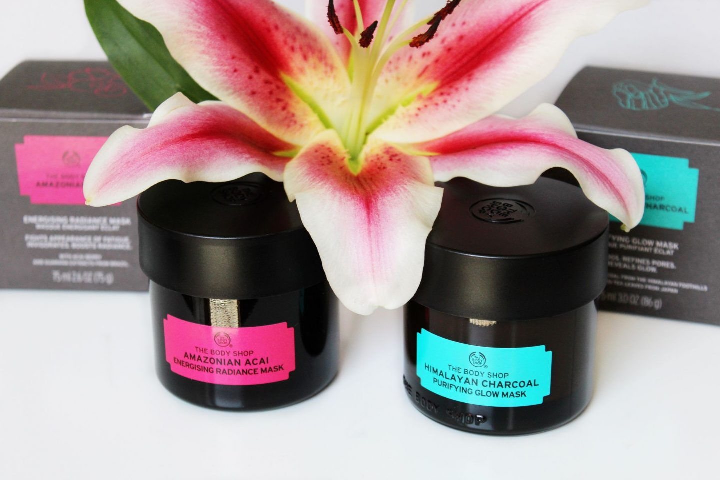 The Body Shop Himalayan Charcoal Purifying Glow Mask and Amazonian Acai Energising Radiance Mask Review - Miel and Mint blog