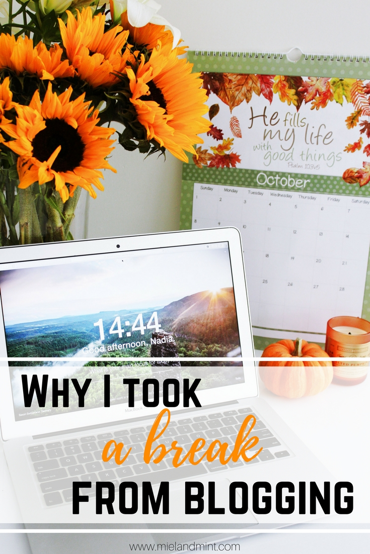 Why I took a break from blogging - Miel and Mint