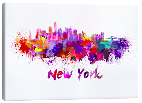 Posterlounge New York Skyline Watercolour Canvas