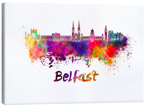 Posterlounge Belfast Skyline Watercolour Canvas