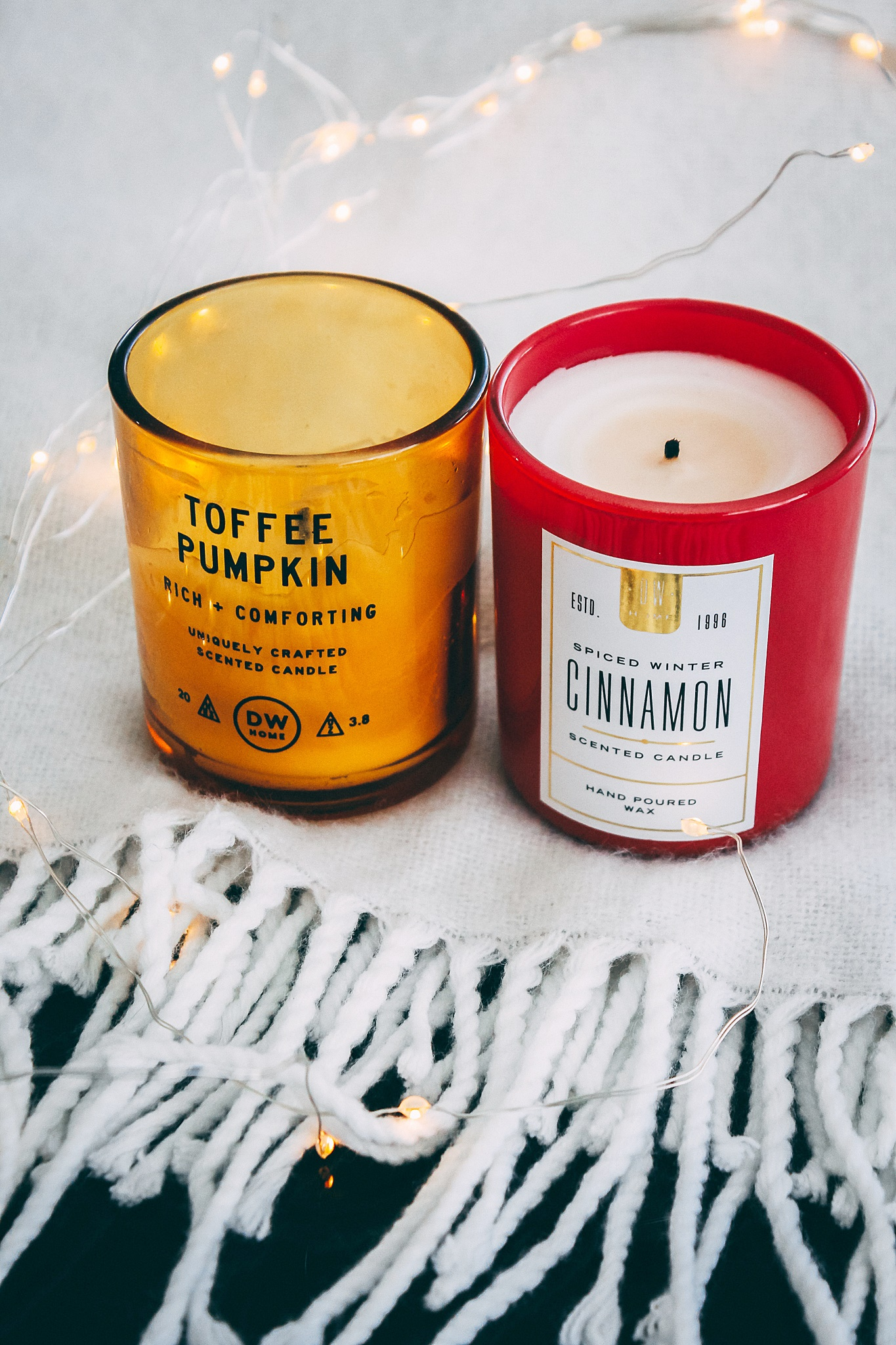DW Home Candles, Toffee Pumpkin candle, Spiced Winter Cinnamon candle