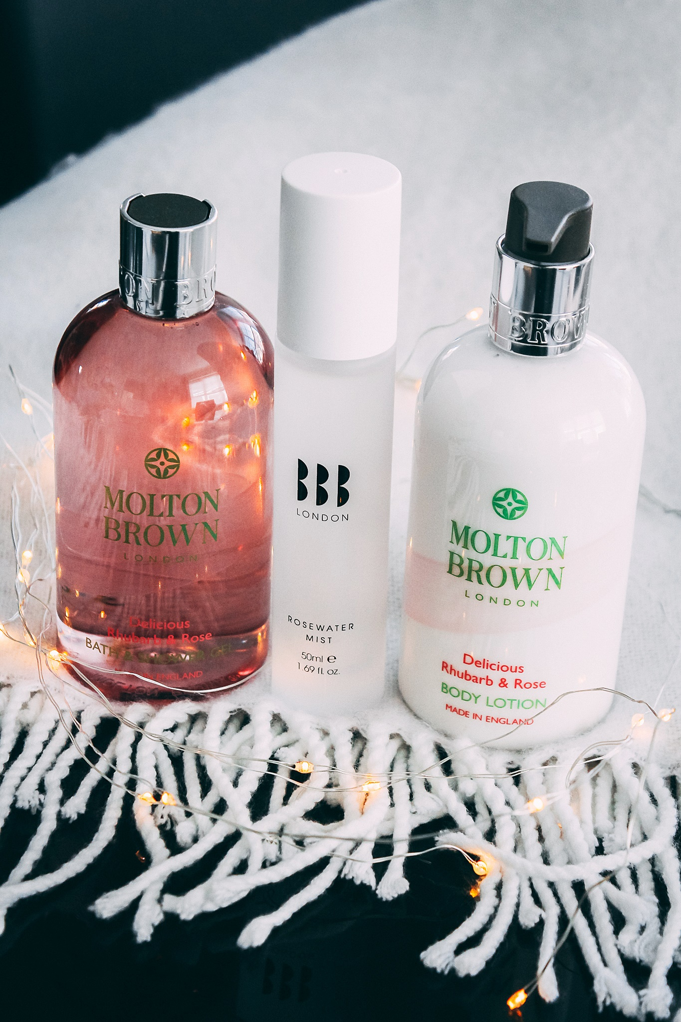 Molton Brown Delicious Rhubarb & Rose Bath & Shower Gel, bbrowbar Rosewater Mist